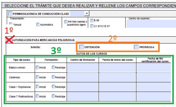 Impreso pruebas aptitud ADR
