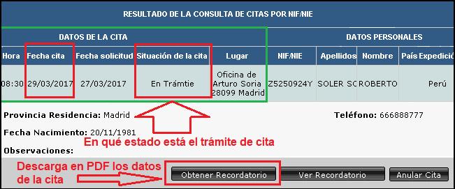 Datos para comprobar la cita canje DGT