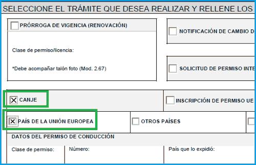 Marcar casillas de canje permiso europeo