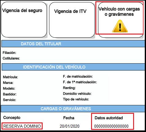 Informe DGT vehículo con reserva de dominio