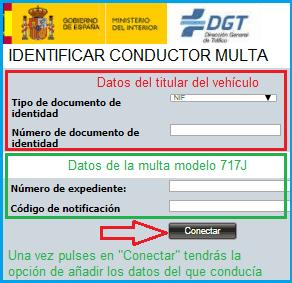 Identificación del conductor DGT por internet