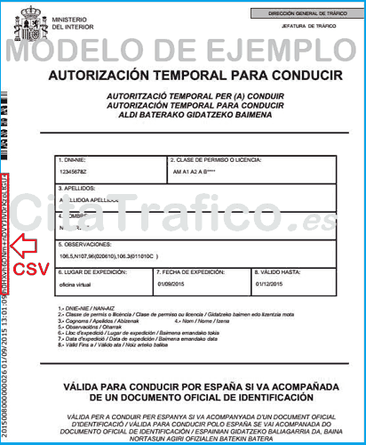 Autorización temporal para conducir de la DGT